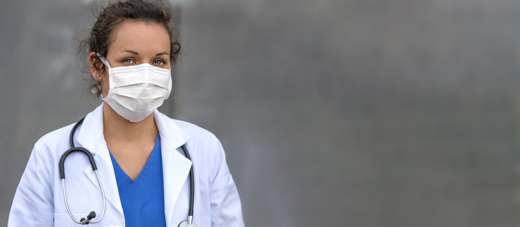 Medical professional wearing a facemask