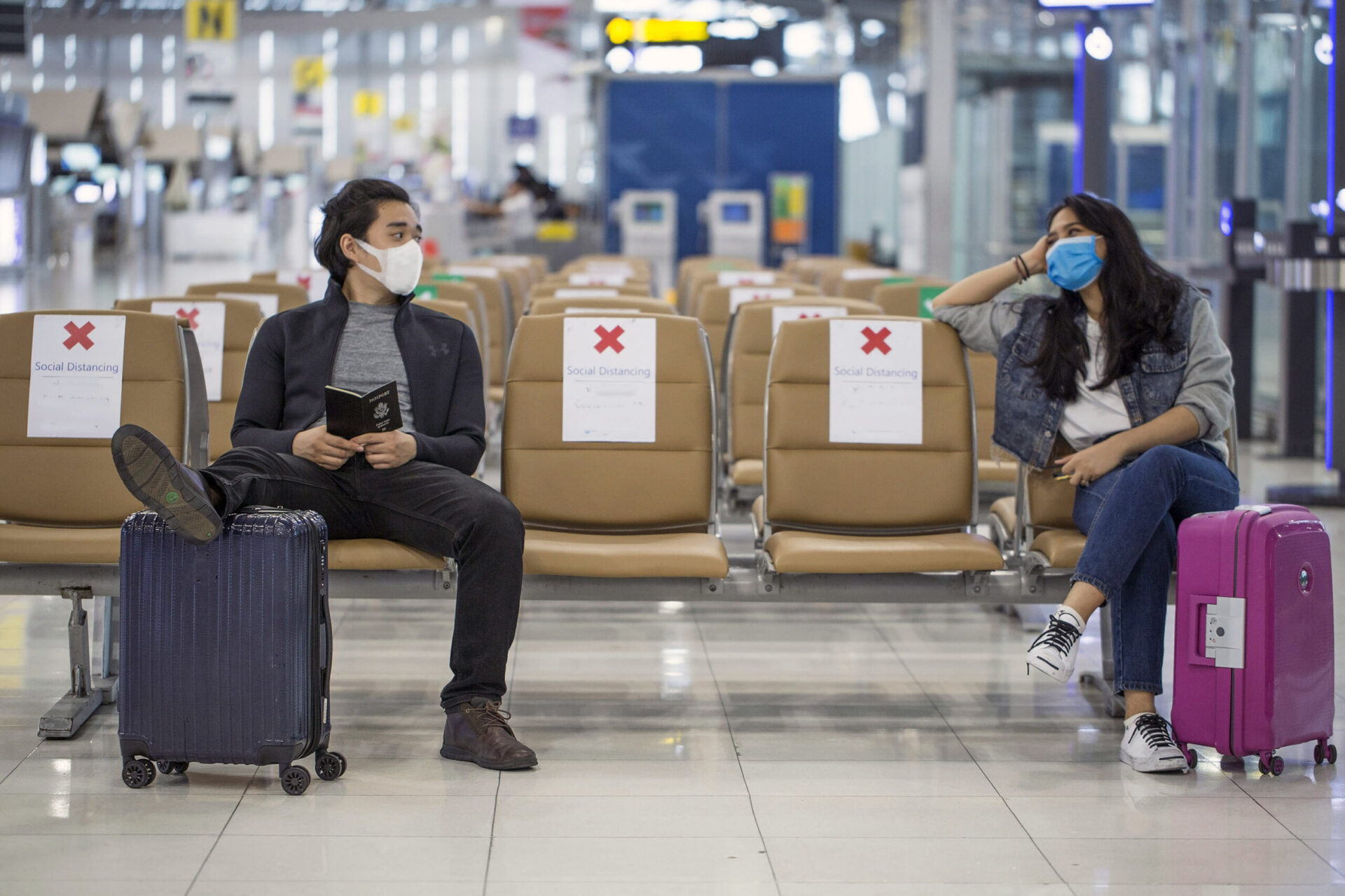 Airport waiting area with Covid-19 restrictions