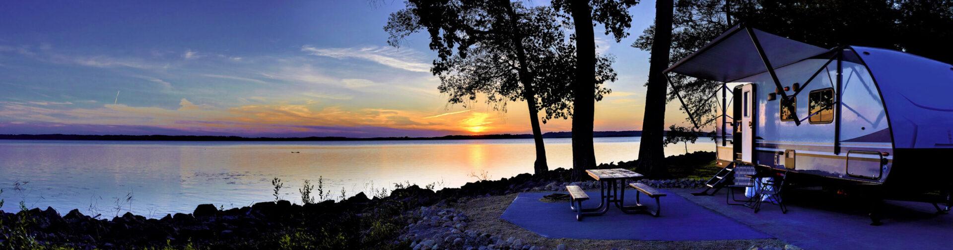 camper at the lake