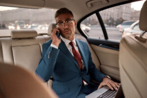 Business man in limousine