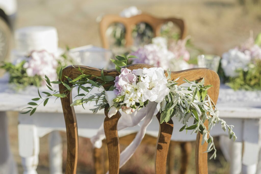 table and chairs at a wedding venue